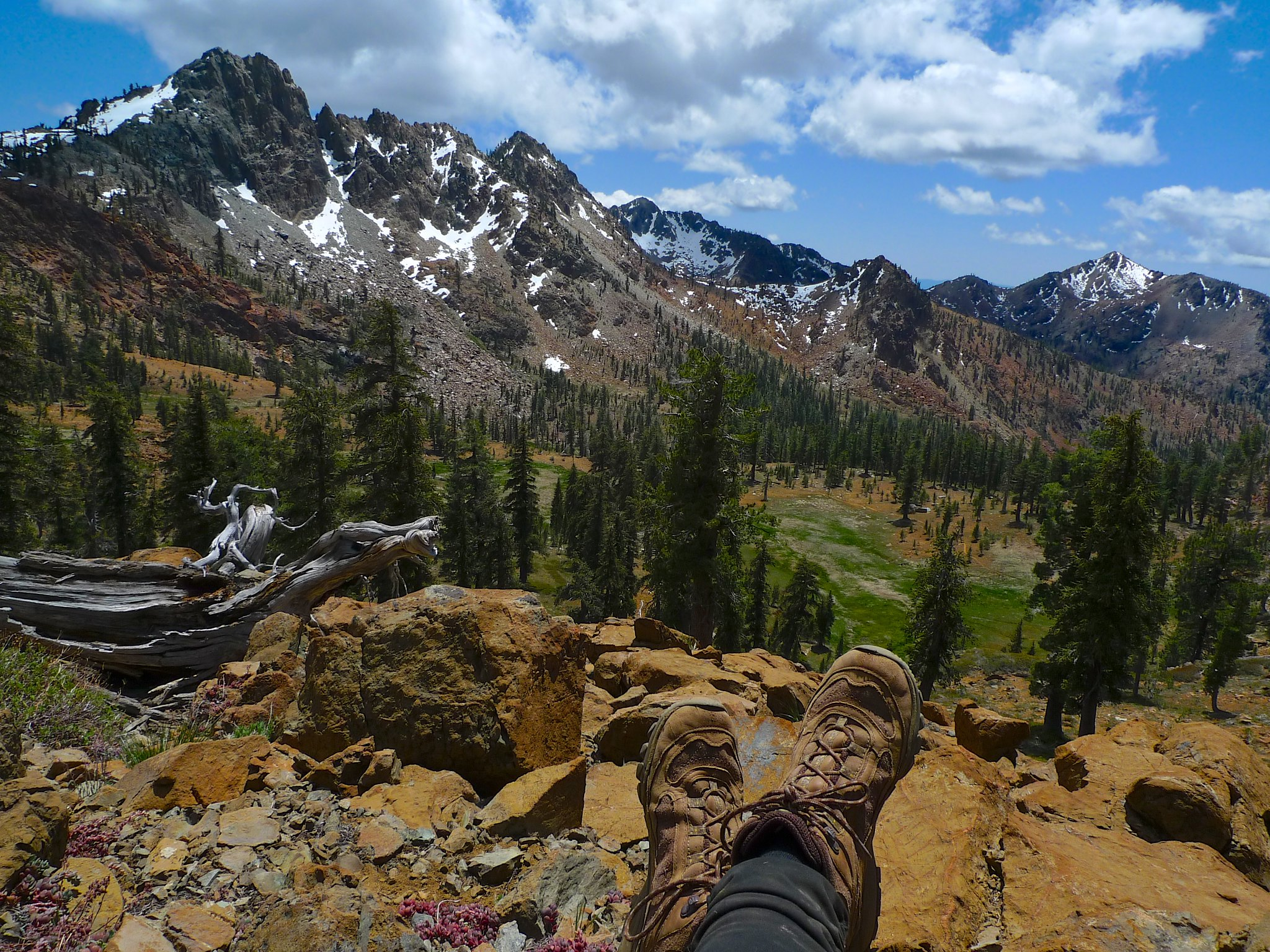 Unnamed peaks, Upper Siligo Meadow, and my feetsies.