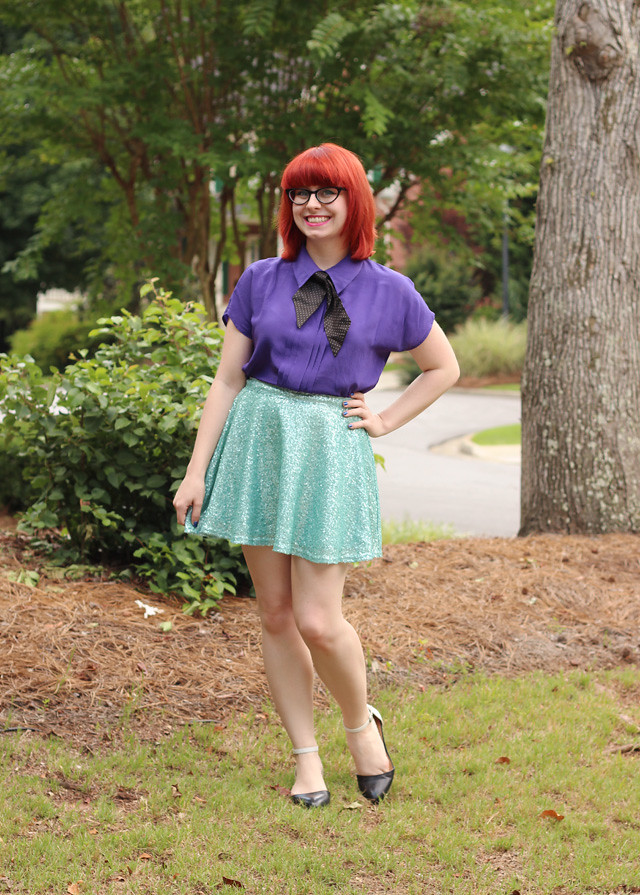 A Little Mermaid Inspired Outfit: Seafoam Green Sequined Skater Skirt, Purple Silk Top, Bright Red Hair and Two-toned Flats