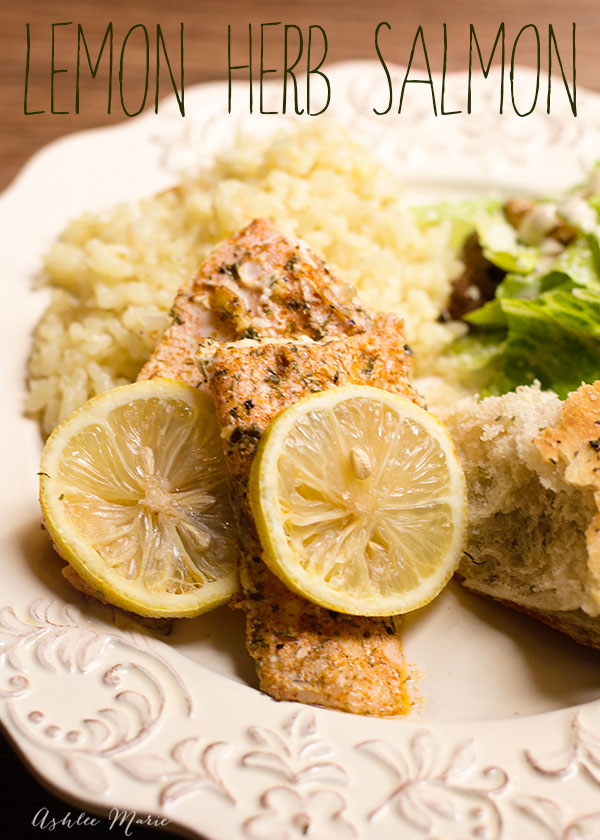salmon is our favorite dinner, one of our favorite ways to make it is with butter, herbs and lemon, bake and enjoy