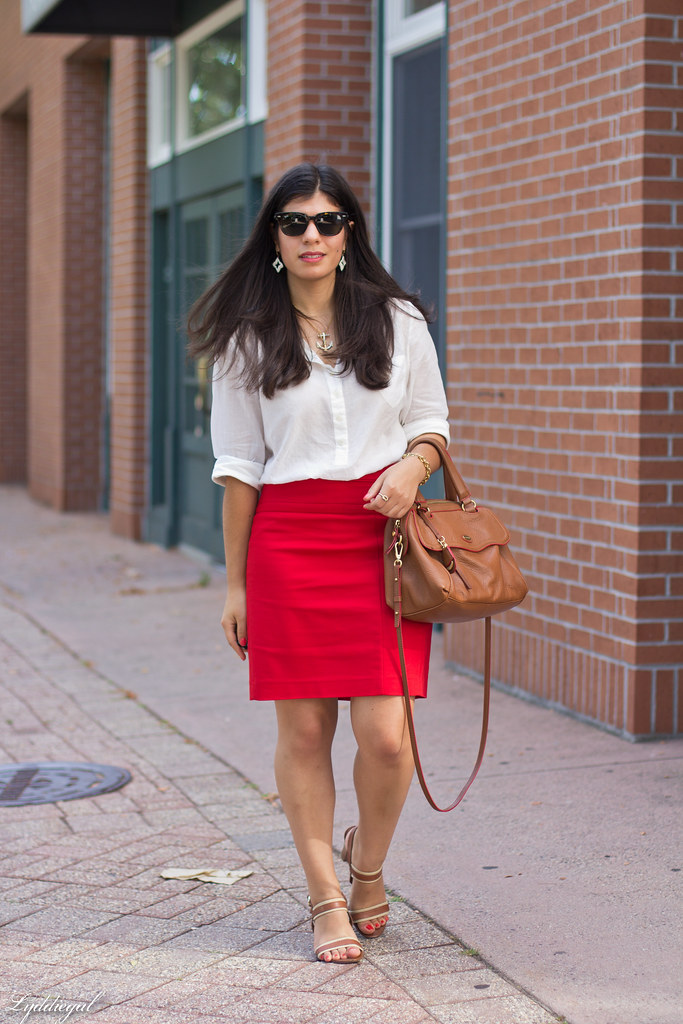 white popover, red pencil skirt, brown bag and sandals.jpg