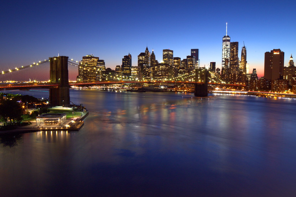 Brooklyn Bridge, Downtown Manhattan, and One World Trade Center, blue hour