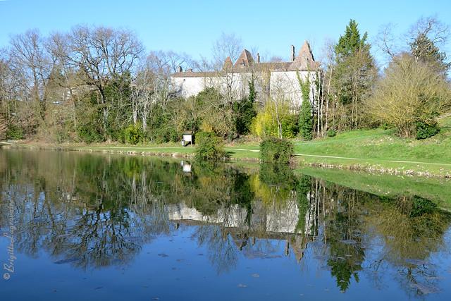 Le château du Coulon et son lumineux reflet.