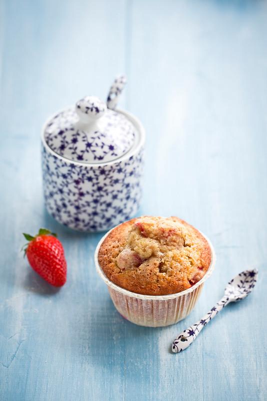 Muffins con fragole e vaniglia