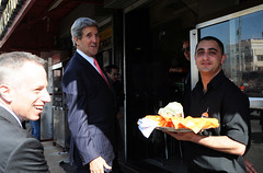 Secretary Kerry Visits a Shawarma Shop in Ramallah