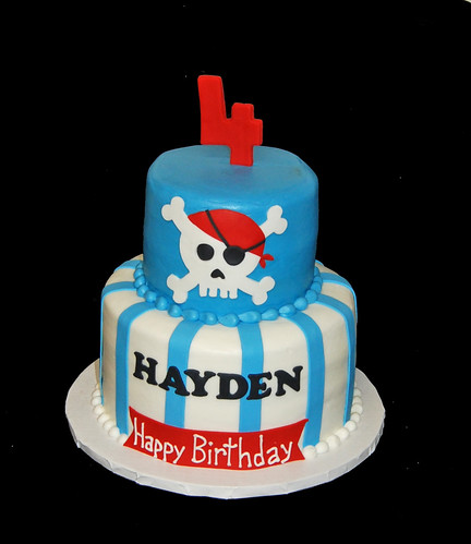 4th birthday Aqua Blue and Red Pirate Themed Birthday Cake