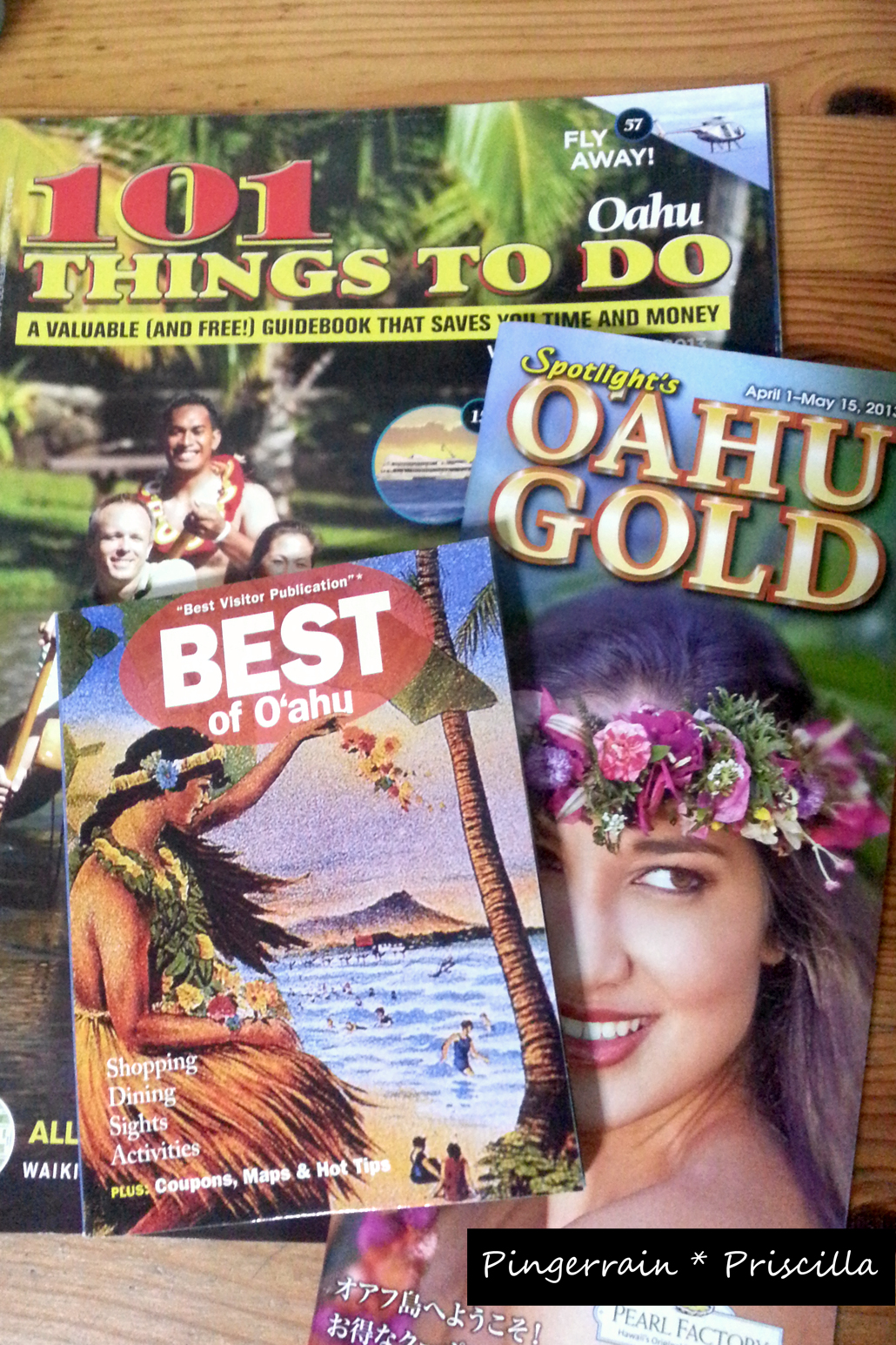 Guides I had picked up at Island Colony Hotel in Hawaii