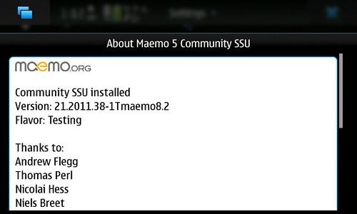 About Maemo5 CSSU Ver.21.2011.38-1 Tmaemo8.2