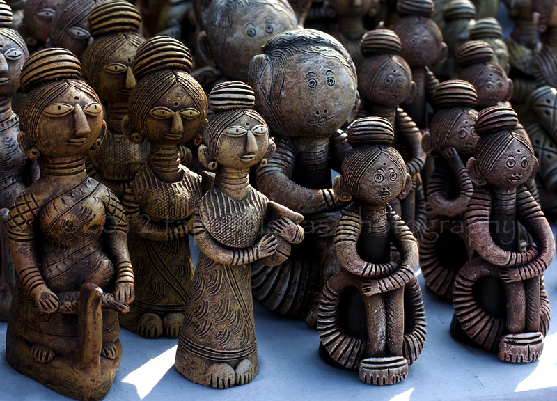 Clay idols of villege women