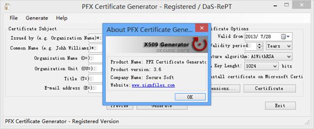 X.509 Certificate Generator 3.6