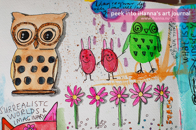 Art Journal Detail: Owls and bunnies