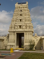 Entrance to Meenakshi Temple, Pearland, largest Hindu temple in the Houston area.