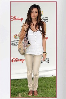 Ashley Tisdale Beige Jeans Celebrity Style Women's Fashion