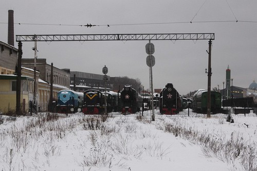 Collection of locomotives at the south end of the museum