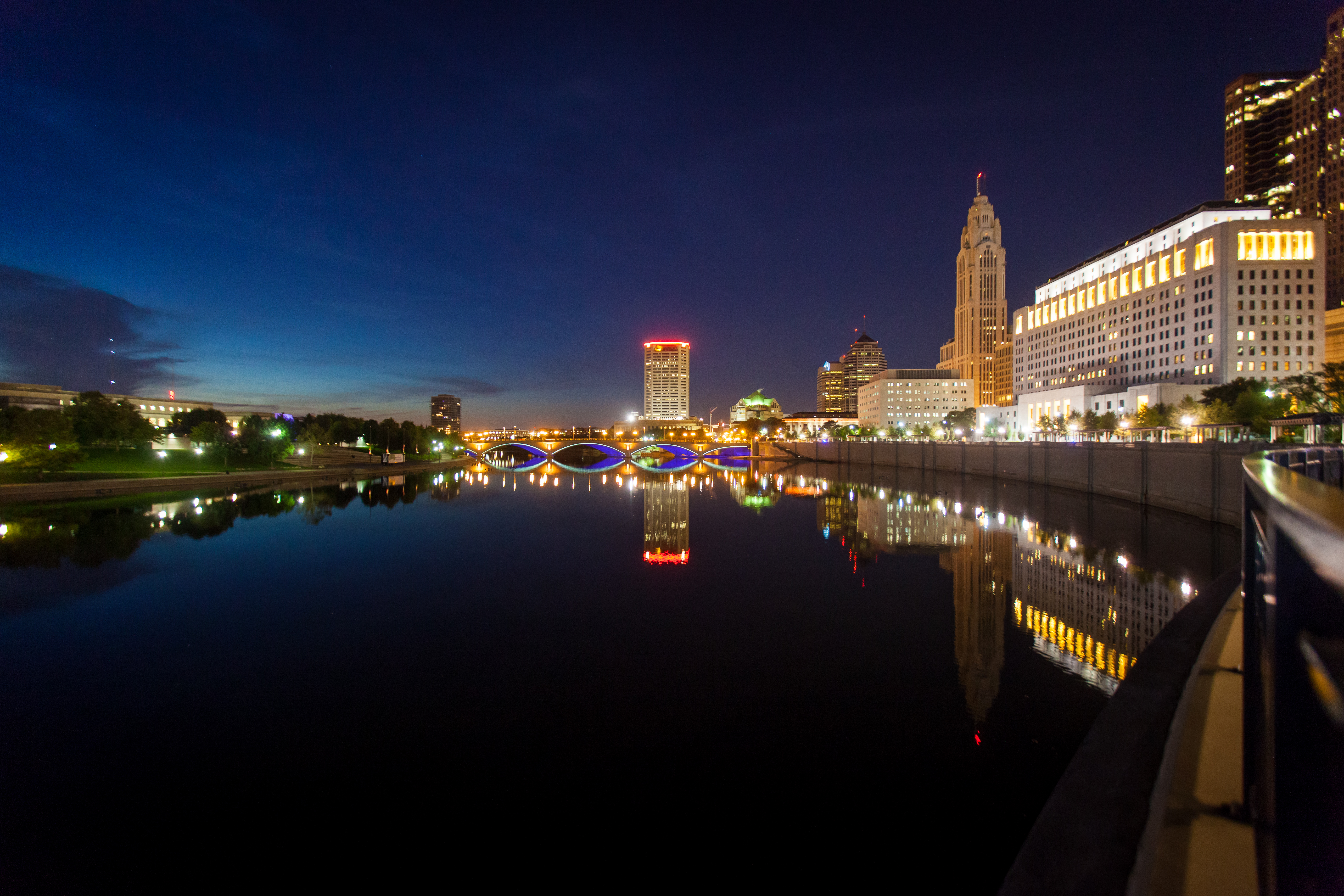 Columbus Riverfront at Dusk