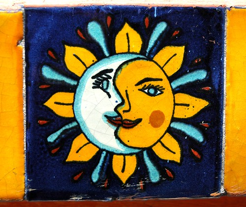 The Union of the Sun and Moon, Song of the Vajra, tantra shows which experience a person undergoes in the intermediate state, the bardo, after passing away, to stabilize awareness during the bardo of dying, Mexican Tile, Guadalajara, Mexico by Wonderlane