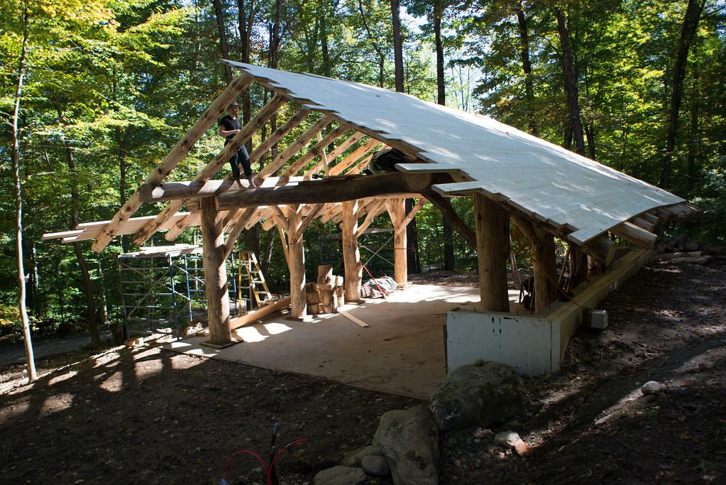 Grindbygg Timber Frame Workshop Roof Decking in Progress