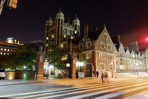 The Penn campus at night