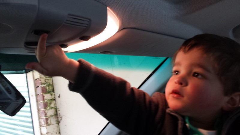 Eskil checking out the lights in the new van