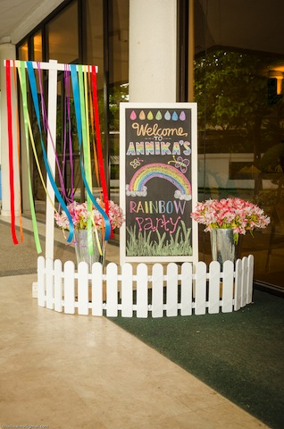 rainbow themed party entrance