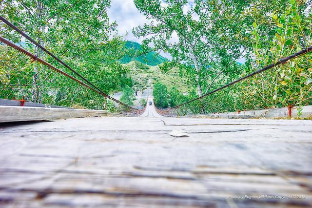 Suspension bridge over Katun, Altai, Подвесной Мост через Катунь, Алтай
