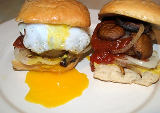 Homemade Beef & Chorizo Burger, Fried and Raw Onion, Chestnut Mushroom Garlic Mayo and Duck Egg