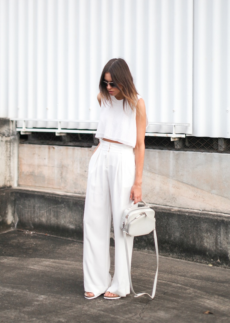 modern legacy fashion style blogger australia sass bide wide leg silk pants faddoul label top zara boyfriend blazer white birkenstocks street style alexander wang rafael bag (2 of 11)