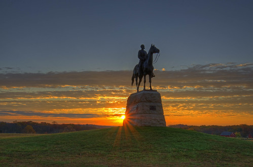 gettysburg national battlefield civilwar pa pennsylvania hancockavenue morning general georgegordonmeade union north armyofthepotomac statue monument sunrise clouds color hdr highdynamicrange craigfildesfineartamericacom