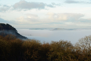 A mist filled Towy Valley, looking towards Carmarthen.