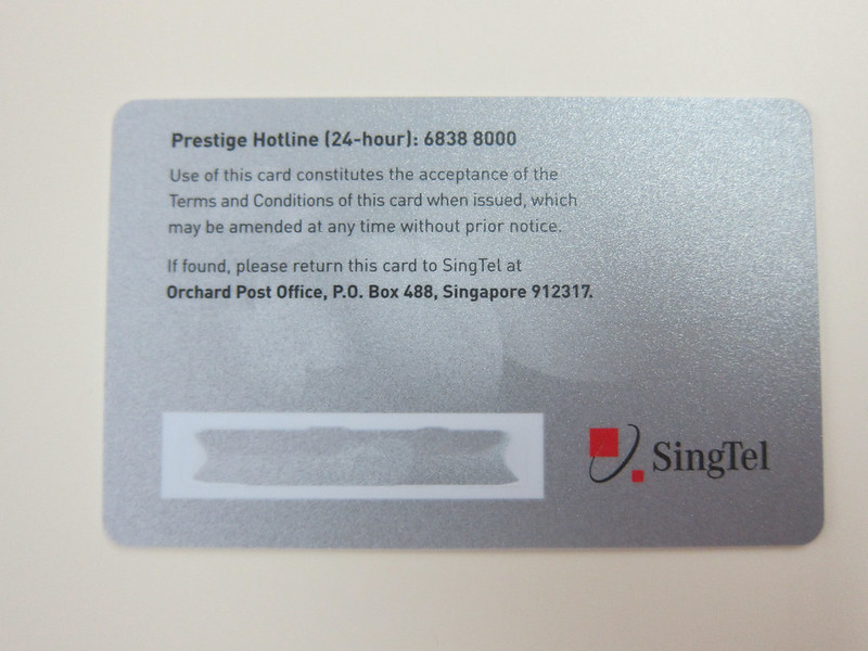 SingTel Prestige - Card Back