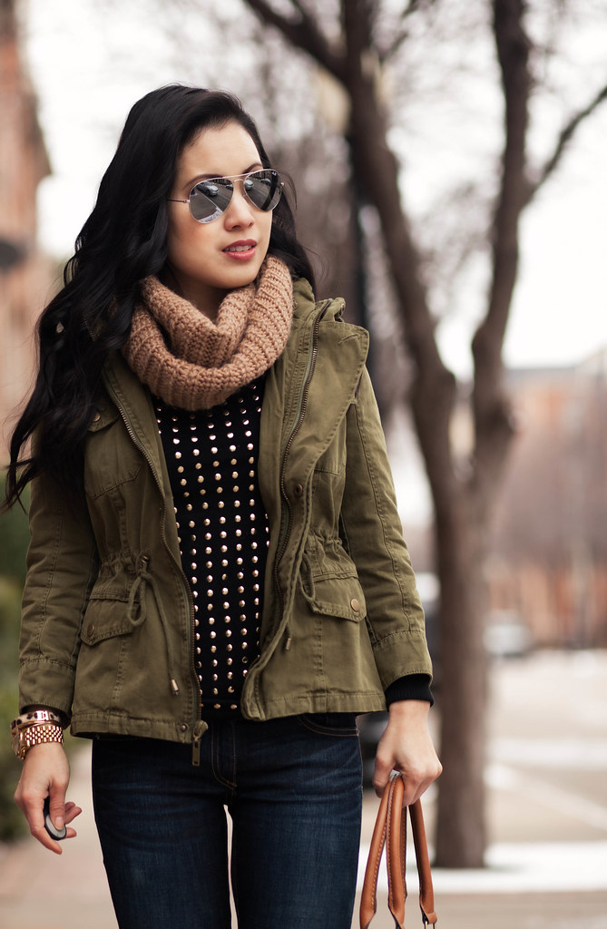 cute & little blog | fall winter layering outfit | tan cowl scarf, utility jacket, black gold studded sweater, rag bone skinny jeans, ankle boots, ray ban silver mirrored aviator sunglasses