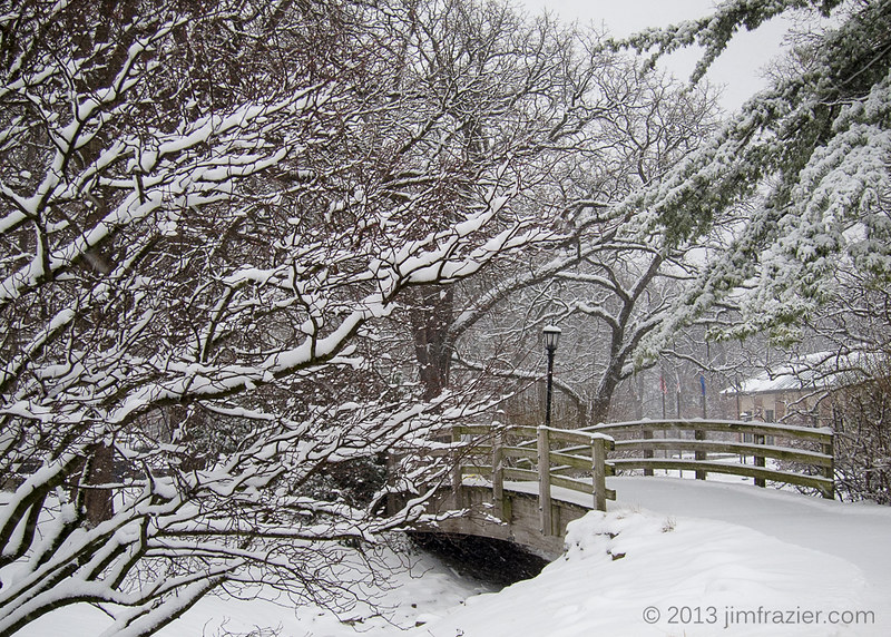 Bridge, Street Lamp, Trees and Snow