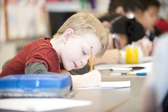 Elementary student working in classroom