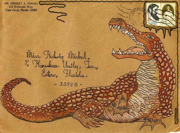 Envelope decorated by Herbert A. Franke and addressed to Koreshan Unity President Hedwig Michel, Estero, Florida
