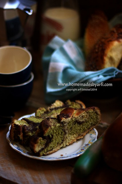 Green Tea and Aduki Bean Paste Swirld Bread