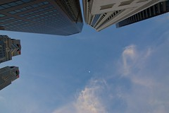 Evening sky with moon in Singapore's Central Business District