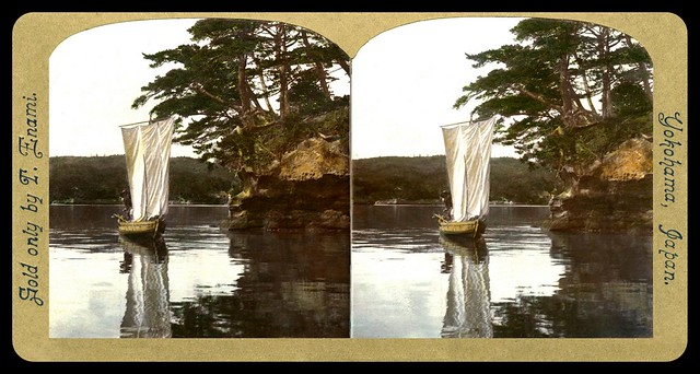 A SAILING SKIFF AT PINE-TREE POINT in OLD JAPAN