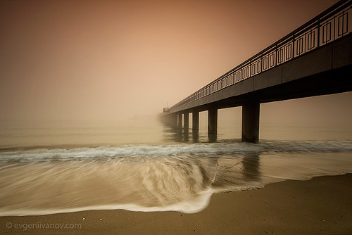 bridge sea mist fog landscape sand seascapes wave bulgaria burgas blacksea