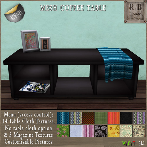 NEW ON SALE ! *RnB* Mesh Dakota Coffee Table Black - 14 Table Cloths (c)