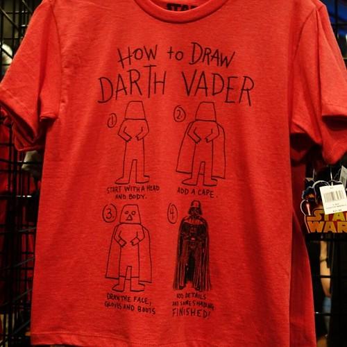 ダース・ベイダーの書き方Tシャツ。お、おう。