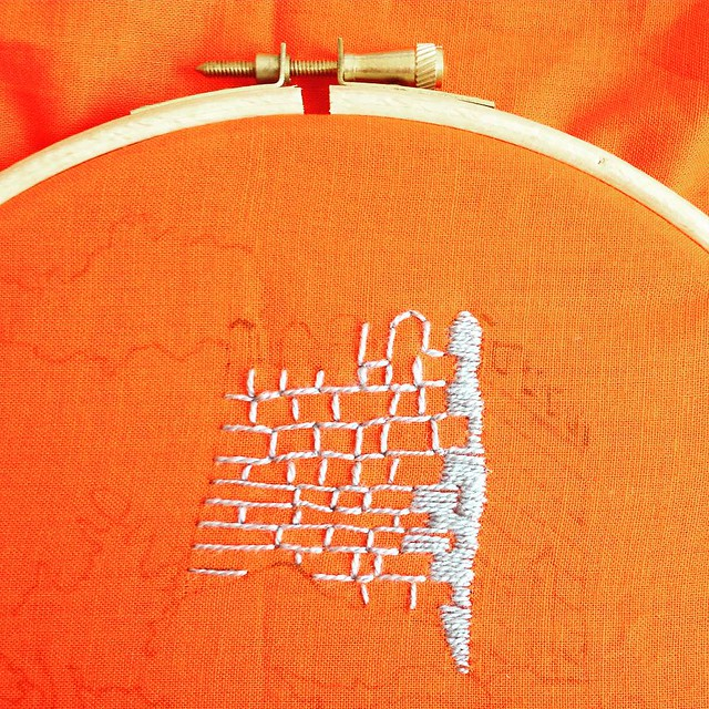 Testing #embroidery stitches for August's #airembroideryclub project. My first time embroidering a #castle!