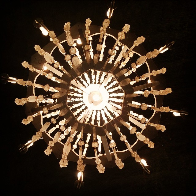 A chandelier made of pure crystal salts