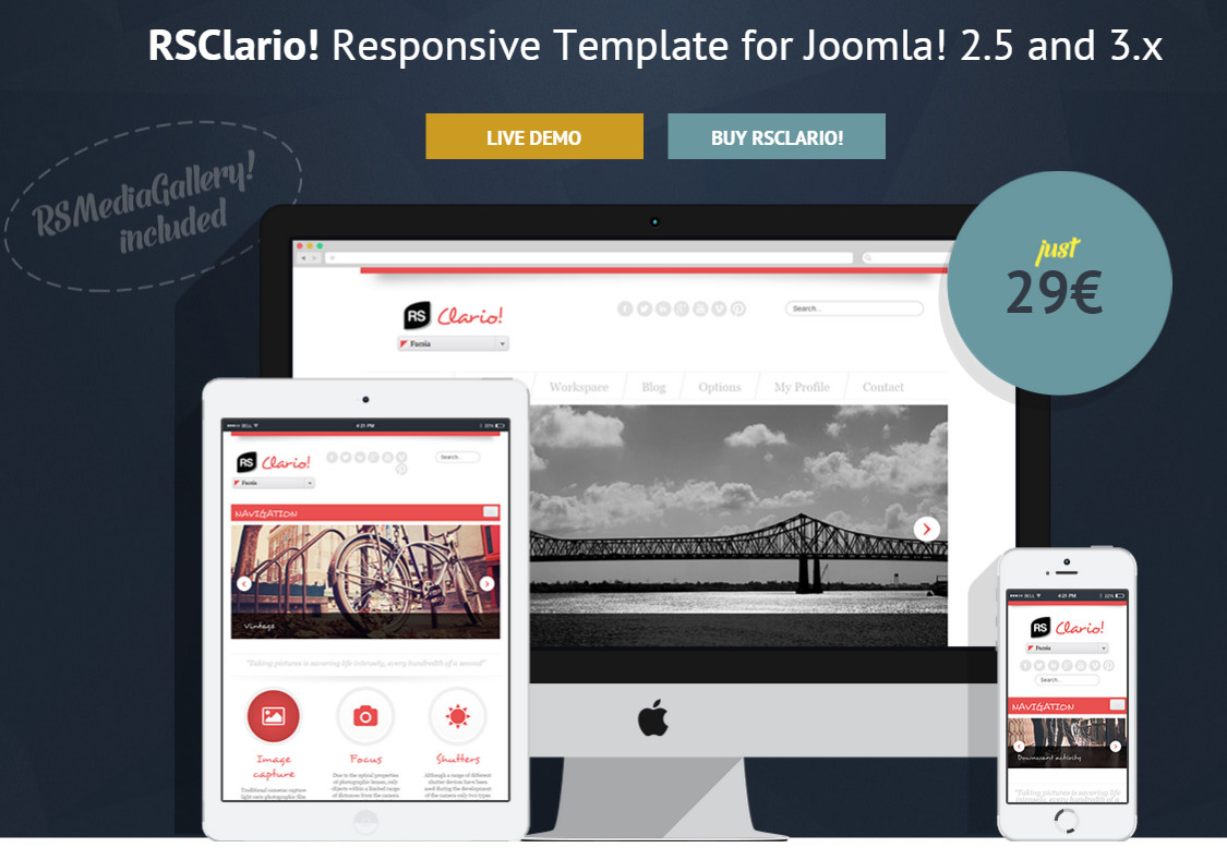 RSClario! template Joomla for different purposes