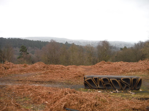 Gibbet Hill, 'Xylem'-bench (see: surreyhills.org/artworks), Southerly Views