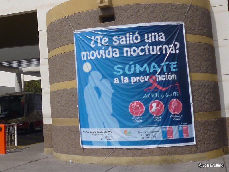 Oddly there was a safe sex poster after Chile's checkpoint