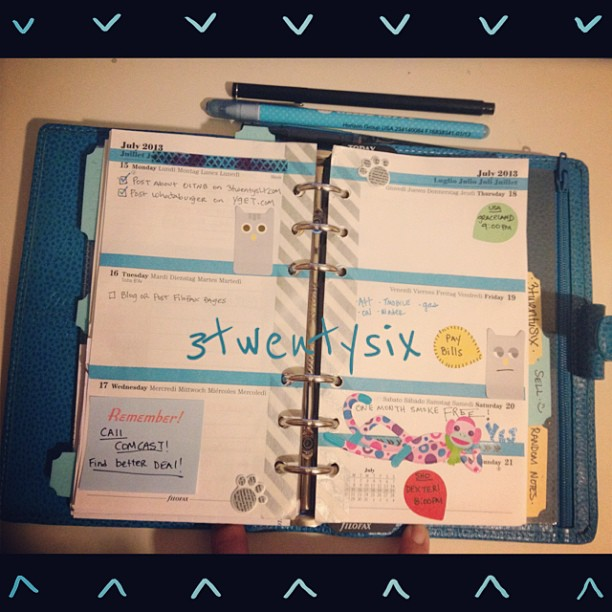 #week29 in #gator326 #filofax #filofaxlove #filofaxaddict #3twentysix #finsbury #planner ##ABeautifulMess Saturday will be one month smoke free!  Eek!!