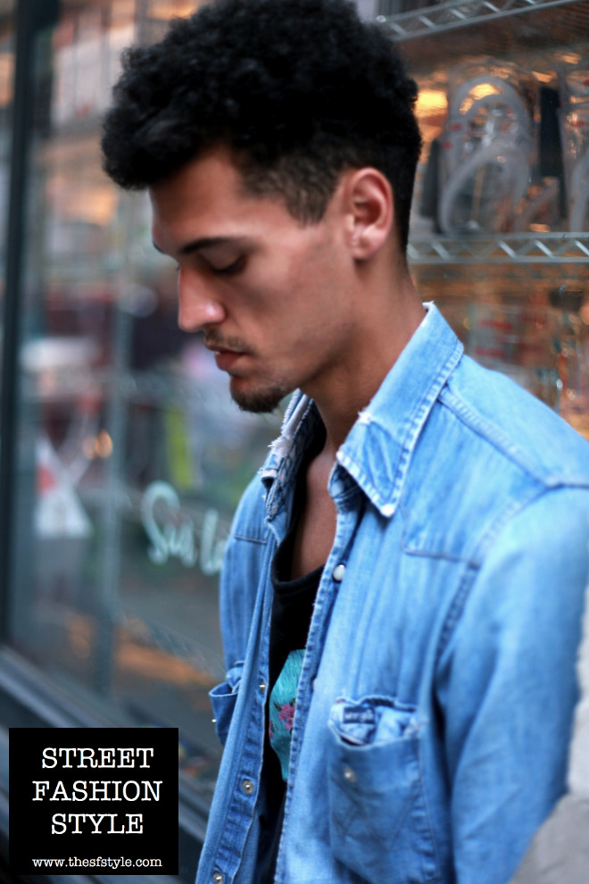 denim shirt, vintage work shirt, menswear, man morsel monday, new york fashion blog, street fashion style,