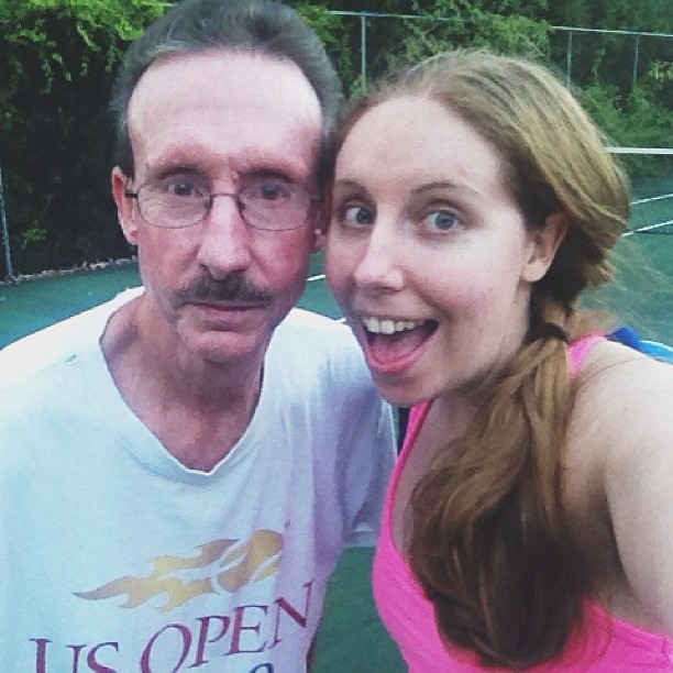 Finally memorialized Wednesday night tennis with dad. #DadFace obviously included.