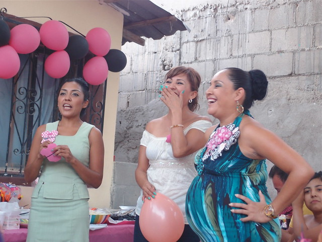 High Quality Sisters Sharing Happy Moment At Mexican Baby Shower