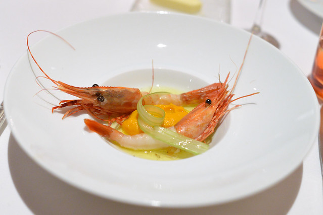 Santa Barbara Spot Prawns, Carrot Mousse, Celery Hearts, Lemon Vinaigrette