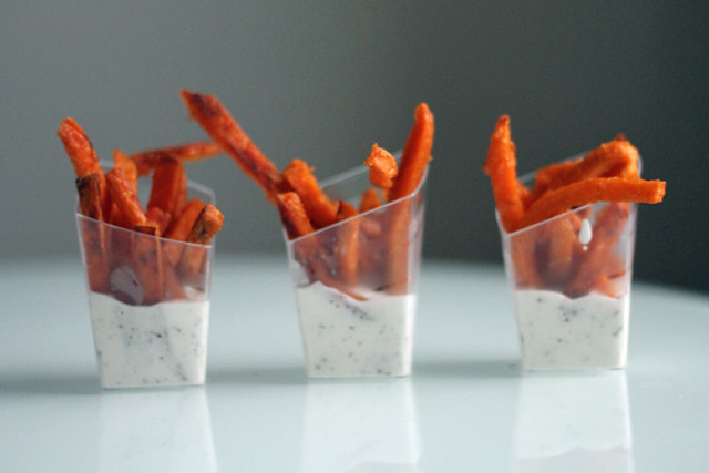 Sweet Potato Fries and Black Pepper Marshmallow Sauce